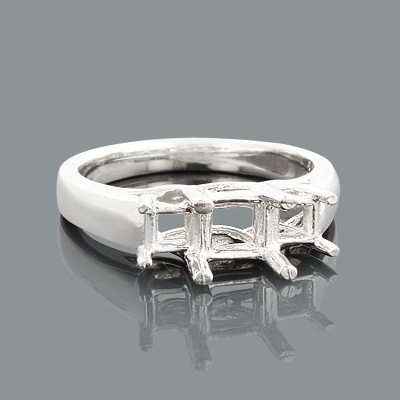 Thin Platinum 3 Stone Engagement Ring Setting Main Image