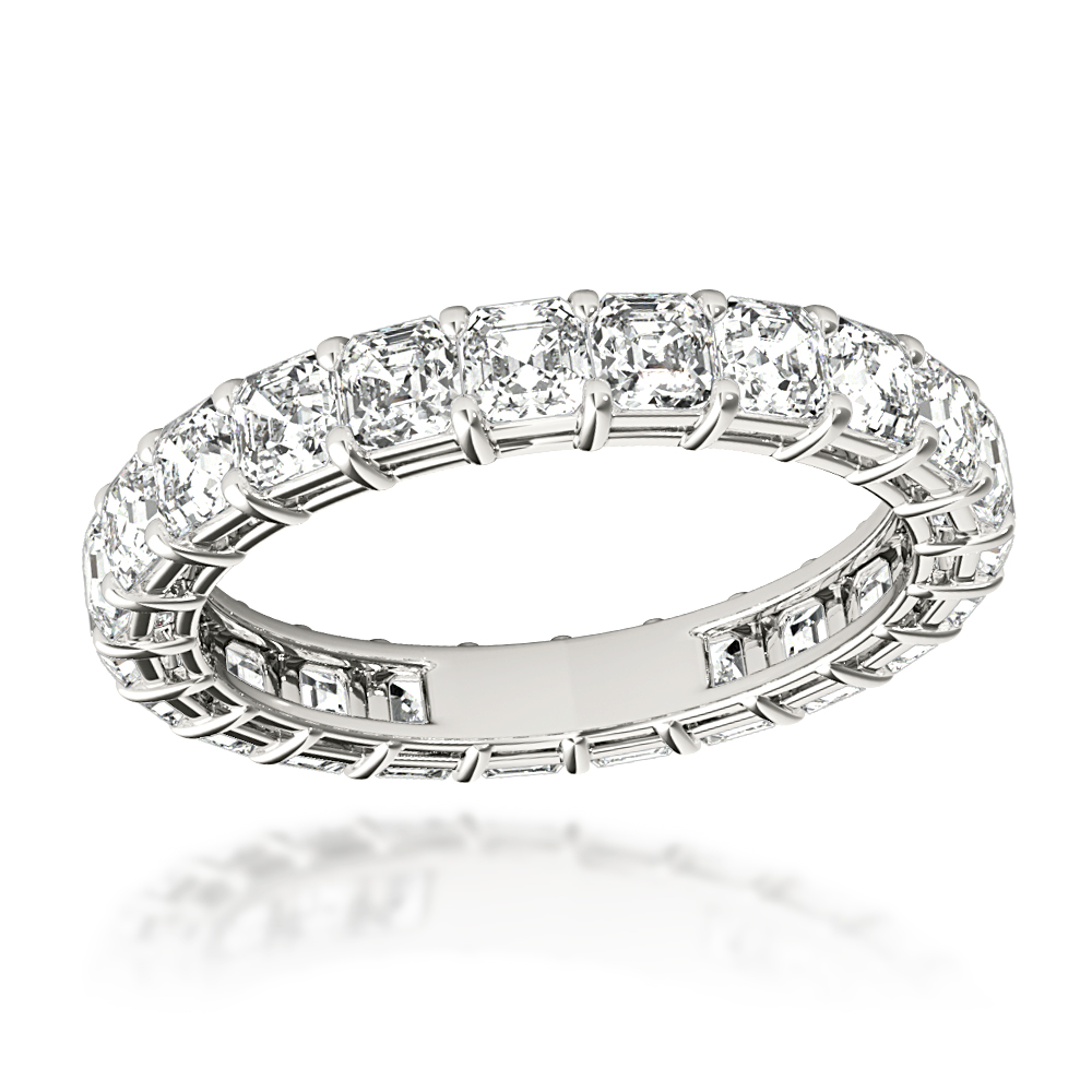 Platinum Asscher Cut Diamond Eternity Band Diamond Anniversary Ring 3ct