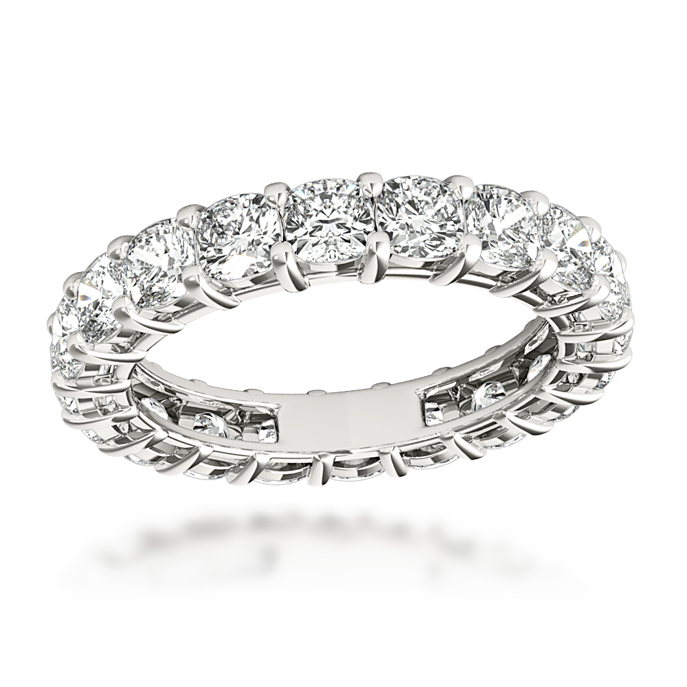 Platinum Cushion Cut Diamond Eternity Band Diamond Anniversary Ring 4ct Main Image
