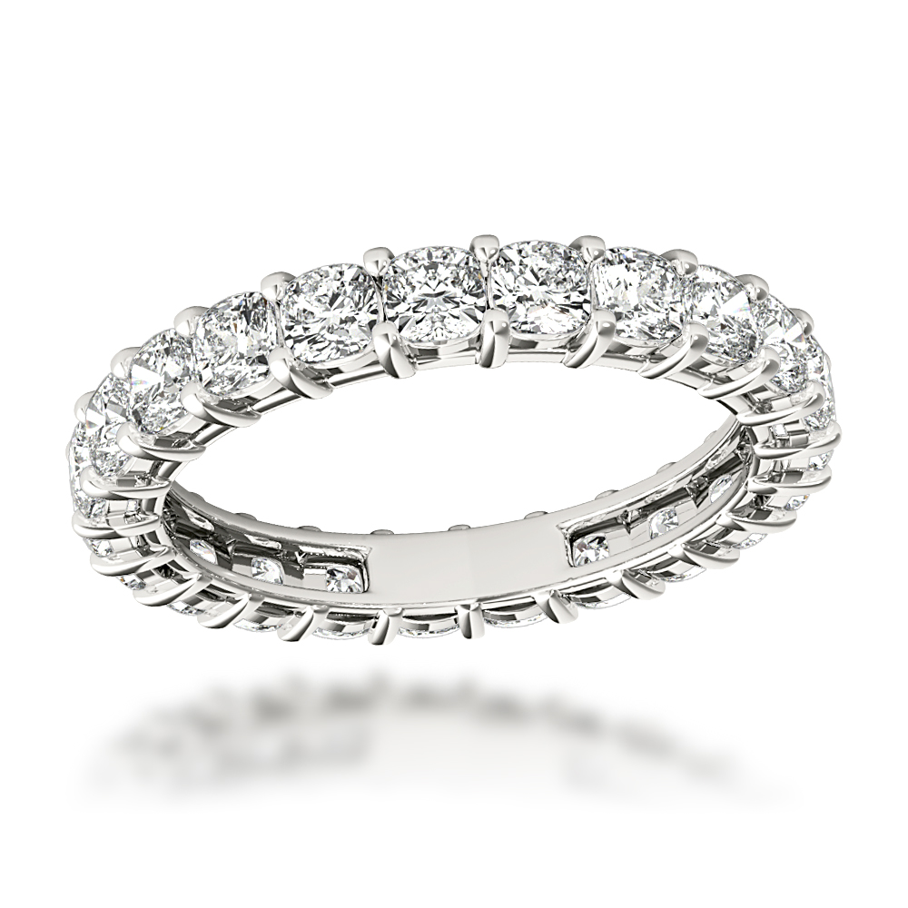 Platinum Cushion Cut Diamond Eternity Ring Diamond Anniversary Ring 2.5ct Main Image