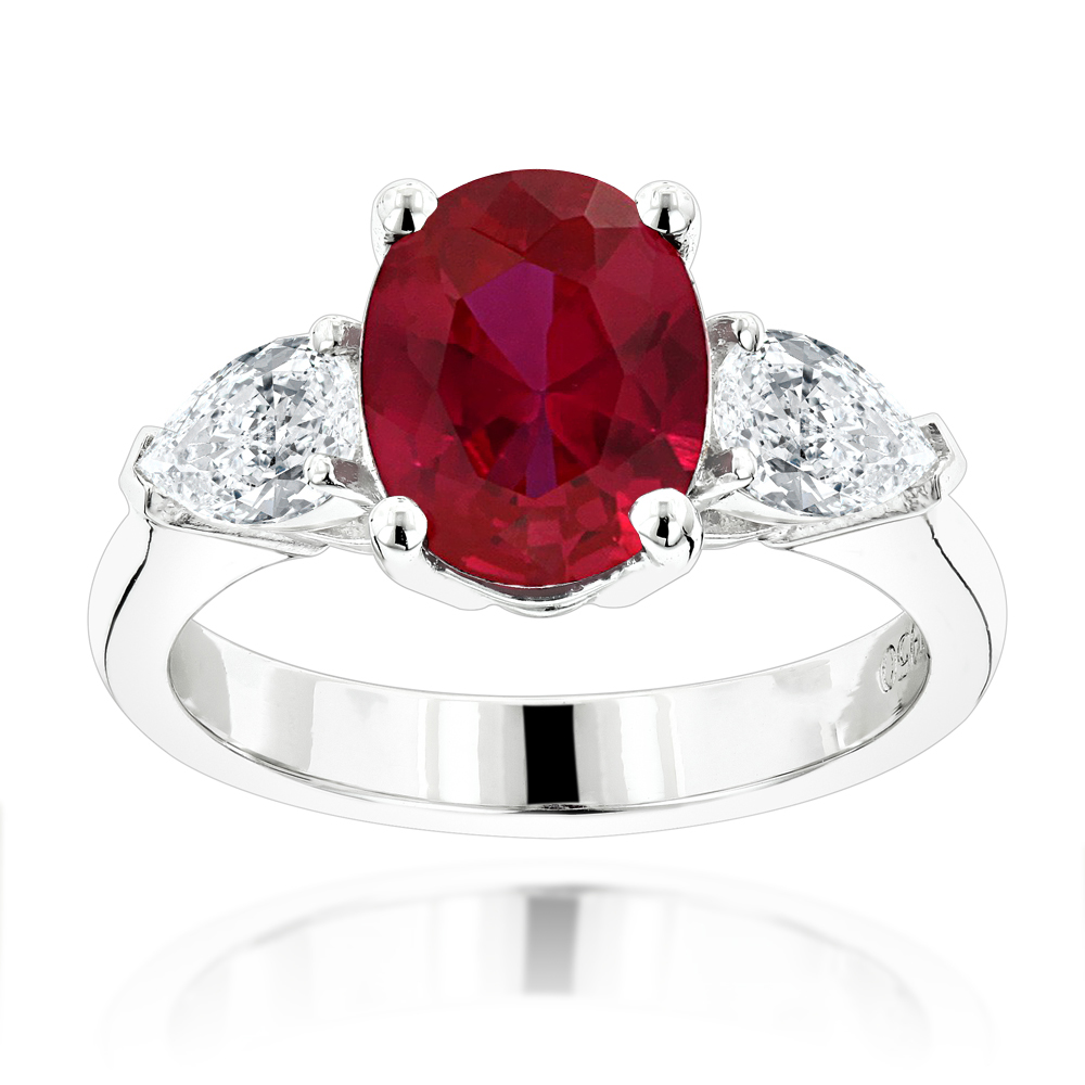 Unique 3 Stone Platinum Diamond and Ruby Engagement Ring Main Image