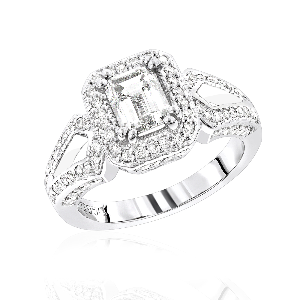 Platinum Diamond Engagement Ring 1.56ct White Image