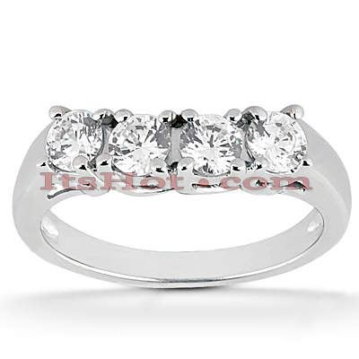 Thin Platinum Diamond Engagement Ring Band 0.48ct