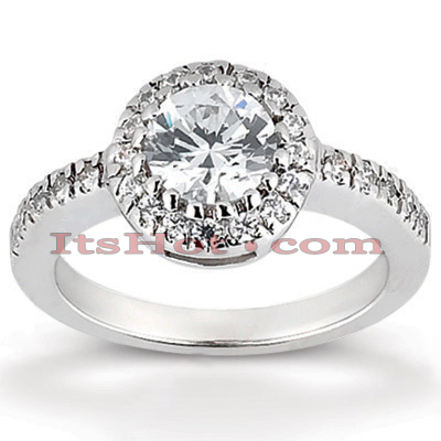 Halo Platinum Diamond Engagement Ring Mounting 0.39ct Main Image