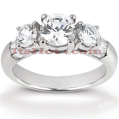 Thin Platinum Diamond Engagement Ring Mounting 0.70ct Main Image