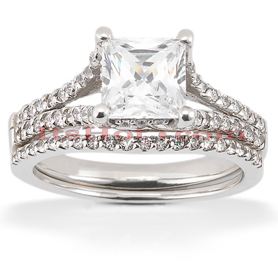 Platinum Diamond Engagement Ring Set 1.57ct Platinum Diamond Engagement Ring Set 1.57ct
