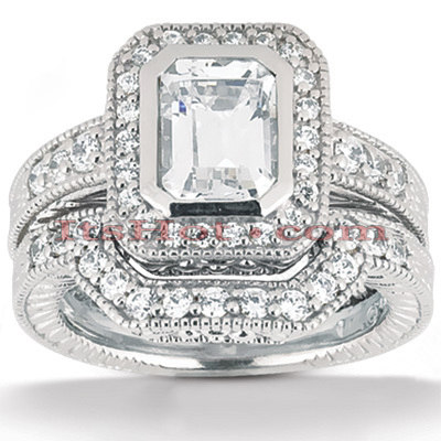 Platinum Diamond Engagement Ring Set 1.62ct Main Image