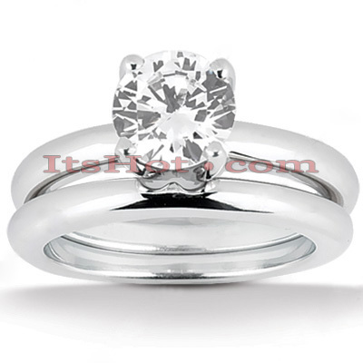 Platinum Diamond Engagement Ring Set 1ct