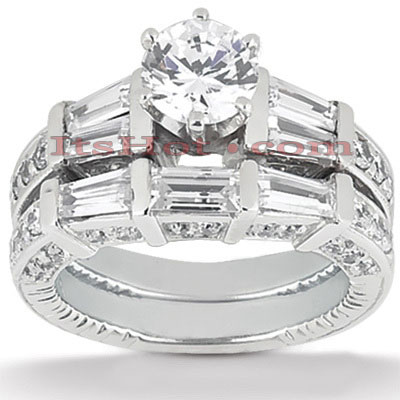 Platinum Diamond Engagement Ring Set 2.84ct