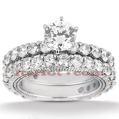 Platinum Diamond Engagement Ring Set 3.87ct Platinum Diamond Engagement Ring Set 3.87ct