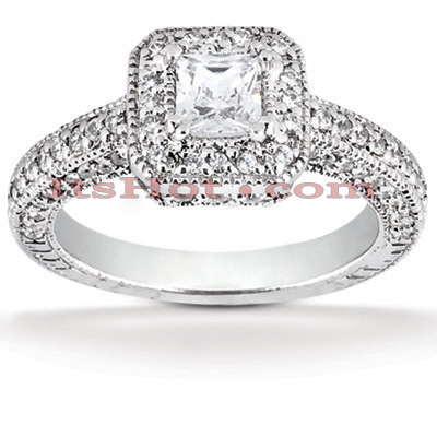 Halo Platinum Diamond Engagement Ring Setting 0.98ct