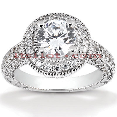 Halo Platinum Diamond Engagement Ring Setting 1.07ct Main Image