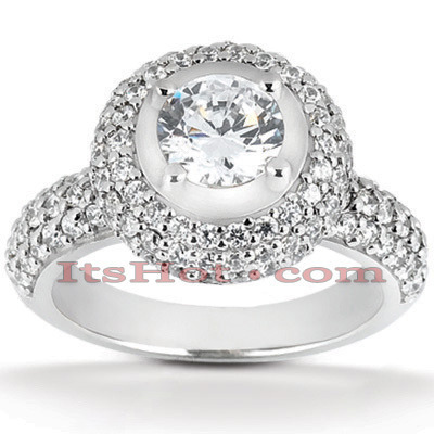 Halo Platinum Diamond Engagement Ring Setting 1ct Main Image