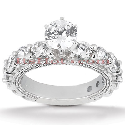 Platinum Diamond Engagement Ring Setting 2.52ct