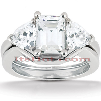 Platinum Diamond Engagement Ring Setting Set 0.40ct