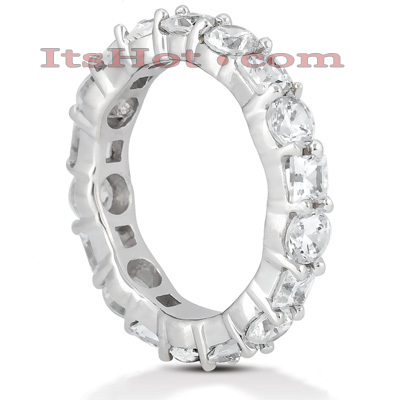 Thin Platinum Diamond Eternity Band 3.15ct Main Image