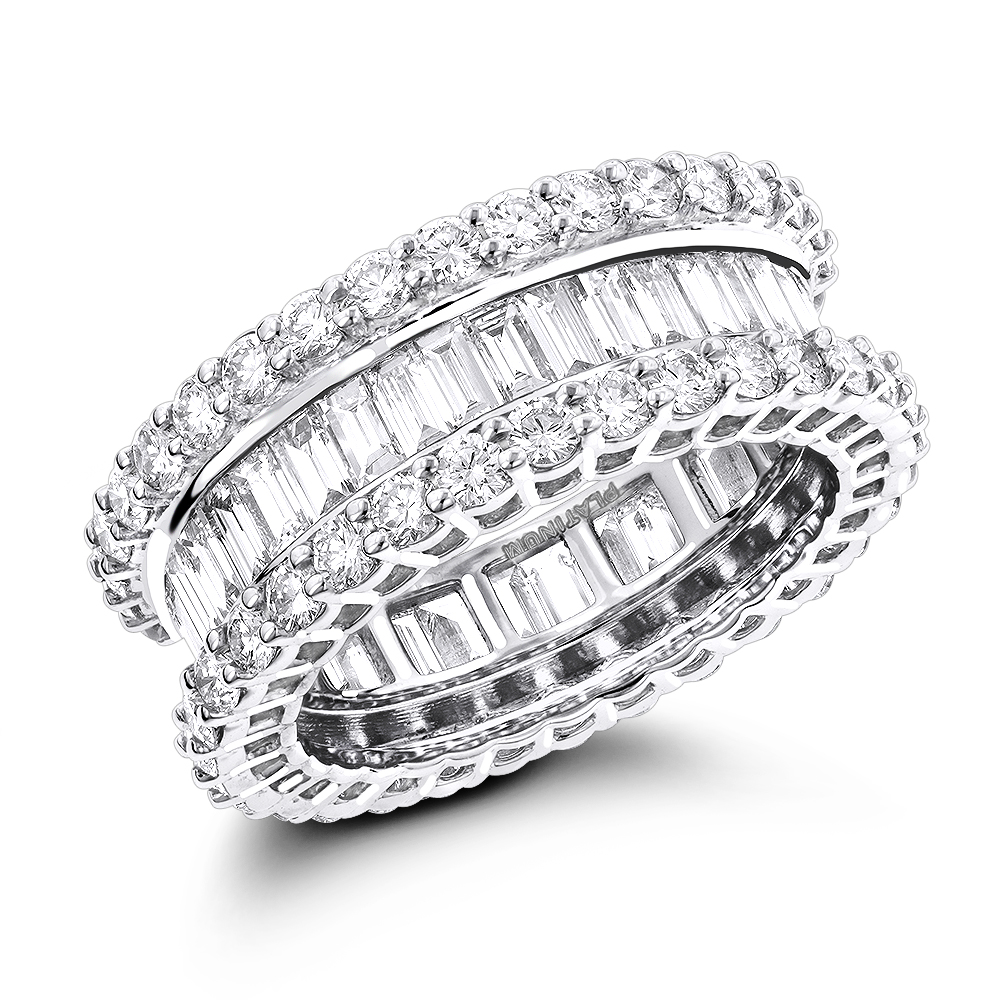 Platinum Diamond Eternity Band with Baguette and Round Diamonds 5.72ct White Image