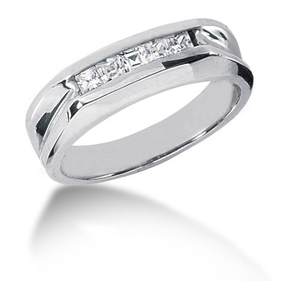 Platinum Diamond Men's Wedding Ring 0.50ct