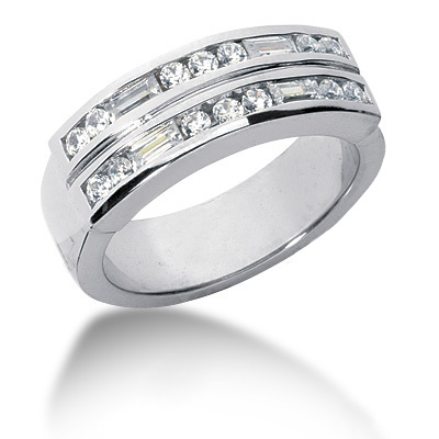 Platinum Diamond Men's Wedding Ring 0.90ct
