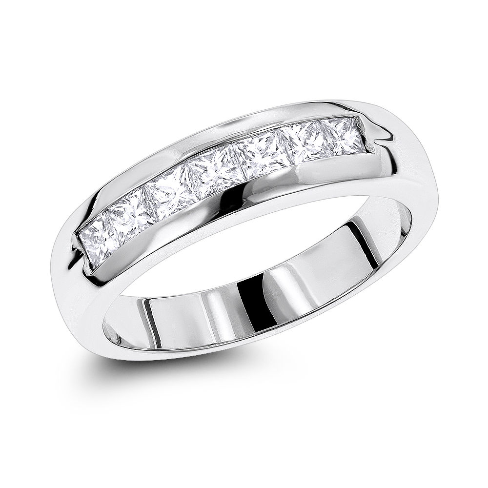 Platinum Diamond Men's Wedding Ring 0.98ct White Image