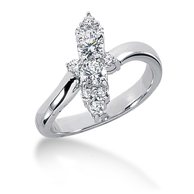 Platinum Diamond Right Hand Ring 0.64ct Main Image