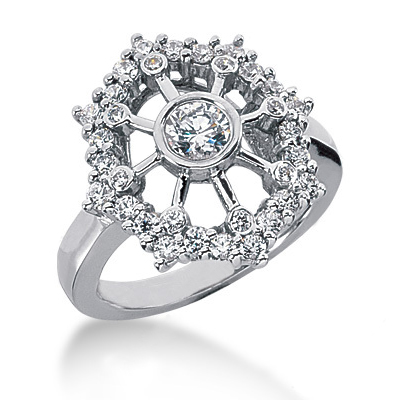 Platinum Diamond Right Hand Ring 0.93ct