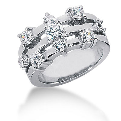 Platinum Diamond Right Hand Ring 1.65ct
