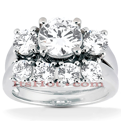 Platinum Diamond Three Stone Engagement Ring Set 0.78ct