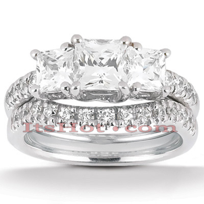 Platinum Diamond Three Stone Engagement Ring Set 0.87ct