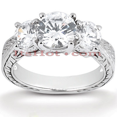 Ultra Thin Platinum Diamond Three Stones Engagement Ring 0.29ct
