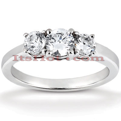 Thin Platinum Diamond Three Stones Engagement Ring 0.35ct Main Image