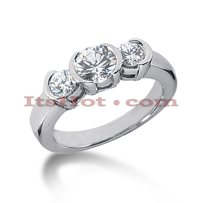 Thin Platinum Diamond Three Stones Engagement Ring 0.39ct Main Image