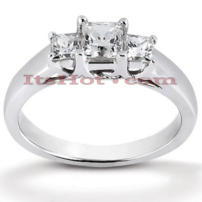 Thin Platinum Diamond Three Stones Engagement Ring 0.43ct Main Image