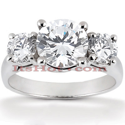 Thin Platinum Diamond Three Stones Engagement Ring 0.45ct Main Image