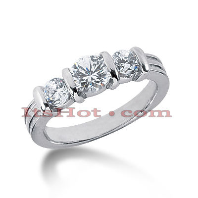 Thin Platinum Diamond Three Stones Engagement Ring 0.55ct Main Image
