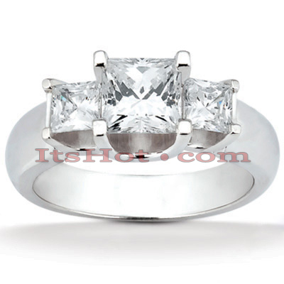 Thin Platinum Diamond Three Stones Engagement Ring 0.58ct Main Image