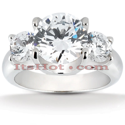 Thin Platinum Diamond Three Stones Engagement Ring 0.60ct Main Image
