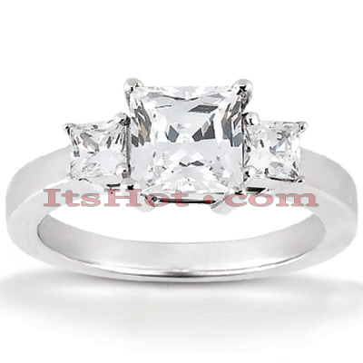 Ultra Thin Platinum Diamond Three Stones Engagement Ring 0.64ct Main Image