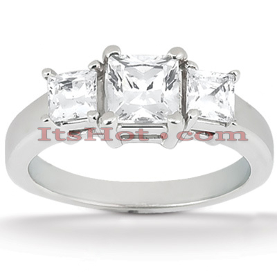 Thin Platinum Diamond Three Stones Engagement Ring 0.64ct Main Image