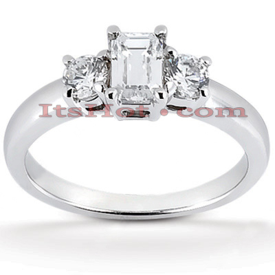 Thin Platinum Diamond Three Stones Engagement Ring 0.70ct Main Image