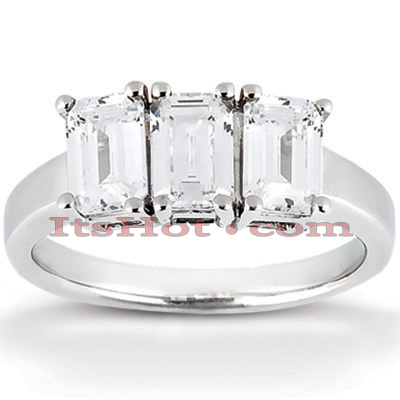 Thin Platinum Diamond Three Stones Engagement Ring 0.75ct Main Image