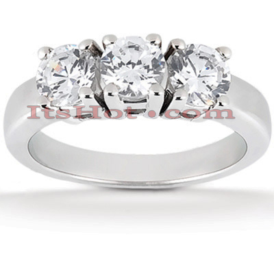 Thin Platinum Diamond Three Stones Engagement Ring 0.75ct