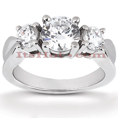 Thin Platinum Diamond Three Stones Engagement Ring 0.80ct Main Image