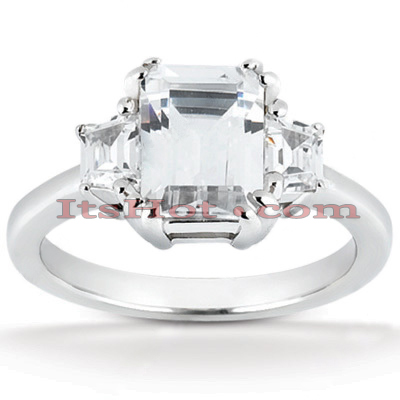 Ultra Thin Platinum Diamond Three Stones Engagement Ring 0.90ct 1.6mm Main Image