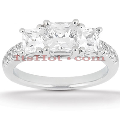 Thin Platinum Diamond Three Stones Engagement Ring 0.94ct Main Image