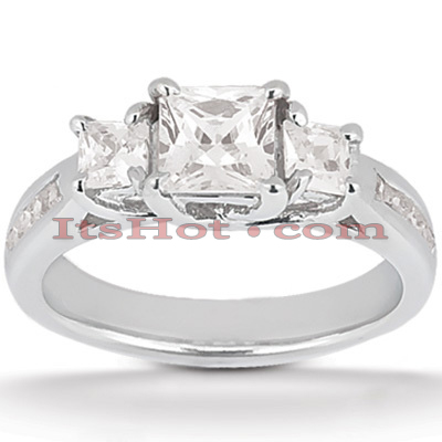 Thin Platinum Diamond Three Stones Engagement Ring 0.96ct Main Image