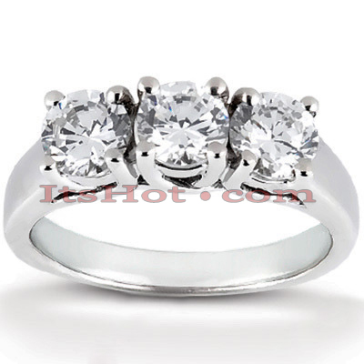 Thin Platinum Diamond Three Stones Engagement Ring 0.99ct Main Image