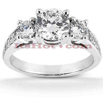 Thin Platinum Diamond Three Stones Engagement Ring 1.05ct Main Image
