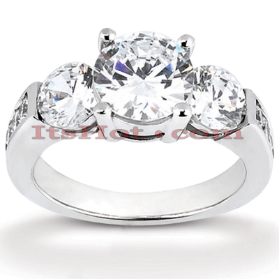 Thin Platinum Diamond Three Stones Engagement Ring 1.15ct Main Image