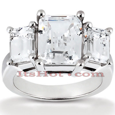 Thin Platinum Diamond Three Stones Engagement Ring 1.16ct Main Image